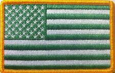 United States USA Flag ARMY Embroidered Iron-On Patch Green Kelly & White