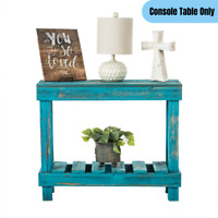 Rustic Sofa Console Table Slim Narrow Accent Display Storage Reclaimed Wood Blue