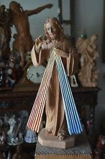 Hand Carved Wood the Divine Mercy Jesus Christ Sculpture statue Religious