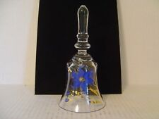 "Very Pretty Glass Bell With Hand Painted Blue And Gold Flowers 7-1/4"" High"