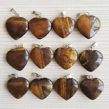Wholesale 50pcs/lot 20mm natural tiger eyes stone pendants love heart pendants