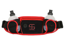 SHRED & TONE Dual Water Hydration Waistpack Black Red Media Slot 6 oz Bottles