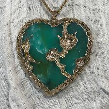 Etc Goldleaf Heart Statement Pendant Green Goldtone Necklace
