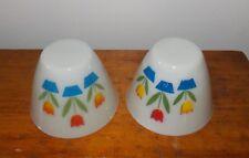 "2 Vintage Fire King Tulip Mixing Nesting Bowl 4"" Tall 5 1/2"" Rim"