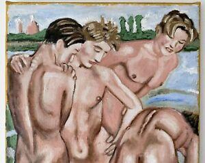 Elizabeth Chaplin Oil Painting  Nude Male Boys Gay Deco Art Erotic Firenze