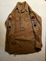 """WWII 1st Armored Div & 2nd Armored Div """"Hell on Wheels"""" tab Sgt. OD Wool Shirt"""