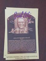 bud selig signed postcard autographed hall of fame hof plaque card induction mlb