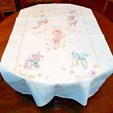 """Vintage Baby Quilt Cross Stitch Handstitched Blanket Coverlet 34.5"""" by 55"""""""