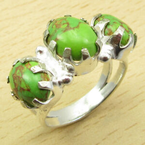 925 Silver Plated Green Copper Turquoise Ring Size 7.25 Thank You Day Jewelry