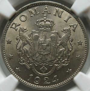 ROMANIA 2 lei 1924 (p) NGC MS 63 UNC Paris Poissy
