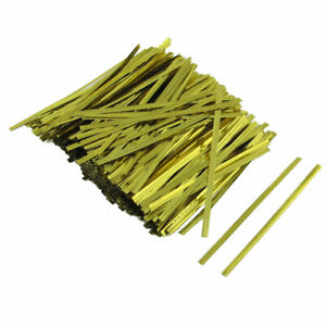 """800 Pcs Gold Tone 3.1"""" Length Candy Bags Packaging Twist Cable Tie"""