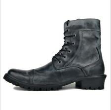 Mens Punk Leather Lace Up Zipper Motorcycle Combat Cowboy Boots Shoes RETRO SIZE