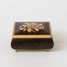 Vtg Reuge Music Jewelry Ring Box Burl Wood Inlay Sorrento Italy Gavotte Bach