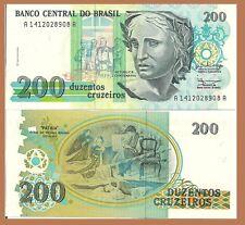 Brazil P229, 200 Cruzeiros, Patria flag making painting by Pedro Grund, see w/m