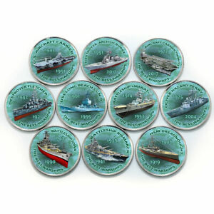 Zimbabwe 1 shilling set of 10 coins Warships 2017