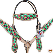 Western Horse Headstall Breast Collar Set American Leather Tan Hilason
