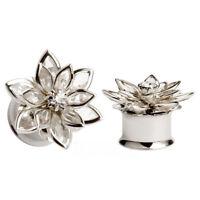 Crystal Flower Gauges Flesh Plugs Piercing Expander Ear Tunnel Ear Reamer