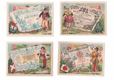 12 Nations Currency Victorian Trade Cards - Ethnic Costumes - Lot B