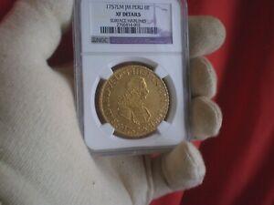 1757 PERU 8 ESCUDOS COLONIAL 8E RARE GOLD COIN  RARE NGC