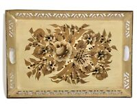Large Vintage Floral Tole Tray Ivory Gold Toleware Reticulated Metal Tin