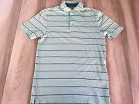 Under Armour Polo Shirt Men's Small Blue Striped Heat Gear Loose UA Golf **