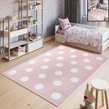 Kinderteppich Kurzflor Rosa Weiß Sterne Kreise Punkte Pastellfarben Kinderzimmer