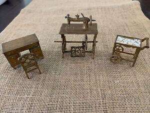 4 VTG Tootsie Toys dollhouse furniture Dresser Chair Rolling Cart Sewing Machine
