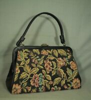 vintage old black tapestry floral fabric needlepoint style purse pocketbook