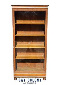 19TH C ANTIQUE VICTORIAN OAK SINGLE DOOR GUILLOCHE CARVED BOOKCASE