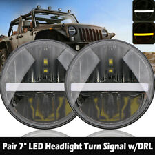 "2x 7"" LED Headlight Turn Signal w/DRL Hi/Low Beam For 1997-2017 JEEP Wrangler TJ"