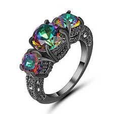 Mystic Rainbow Topaz Oval Gem Wedding Ring 18K Black Gold Filled jewelry Size 8