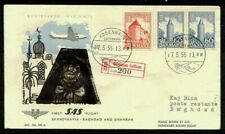 Denmark 1955 First Flight to Baghdad w/cachet blacked out by Islamic authorities