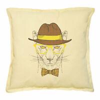 Hand Drawn Monkeys Printed Khaki Throw Pillow Cushion Case VPLC/_02 Size 18x18