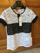 T Shirt Dentelle Blanc Et Noir Morgan Taille L 42 Neuf