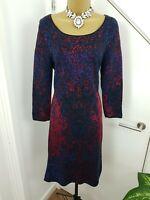 Monsoon Dress Midi Wiggle Boat Neck Shirt Patterned Cotton Multi Size UK 12