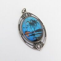 .Vintage 1940 Hoffman Sterling Silver Morpho Butterfly Wing Hand Painted Pendant