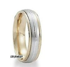 10K TWO TONE GOLD MENS WEDDING RINGS,SATIN FINISH 6MM WEDDING BANDS