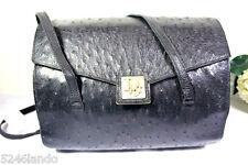 Vintage Christian DIOR Black Ostrich Leather Satchel Tote Handbag Shoulder Bag