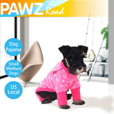 S Size Pet Dog Pajama Clothes Jumpsuit Cotton Cat Costumes Apparels Pink Indoor