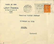 PARIS RUE DU LOUVRE ENVELOPPE LEVY FRERES TISSUS EN GROS 1929