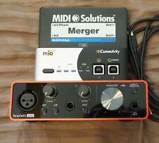 Focusrite Scarlett Solo 3rd gen USB audio interface + iConnectivity mio2 MIDI