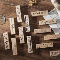 KE_ Moon Planet Flower Month Plan Wooden Stamp Scrapbooking DIY Craft Decor Ey