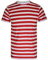Mens Boys Red and White Stripe TShirt Striped Top Fancy Dress LOT