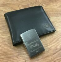 Personalised Zippo Lighter & RFID Leather Wallet Free Engraving Unique Mens gift