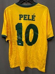 Pele #10 Signed Brazil Soccer Jersey Autographed AUTO BAS COA Sz XL