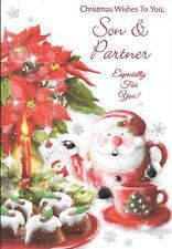 Tarjeta de Navidad a un hijo especial y socios – Santa Tetera, pasteles, Flor de Pascua, puede