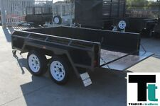 "8x5 TANDEM BOX TRAILER - HEAVY DUTY - 15"" HIGH SIDES -CHECKER PLATE - NEW WHEELS"
