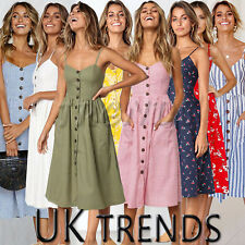 UK Womens Holiday Beach Button Ladies Summer Midi Floral Sun Dress Long Size6-20