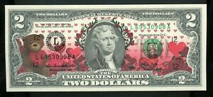 Colorized 2 Dollar Federal Reserve Note - Happy Valentines Day! - Brand New Bill