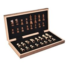 Hand Carved Chess Set Handcrafted Wooden Board Storage Folding Vintage Wood Game